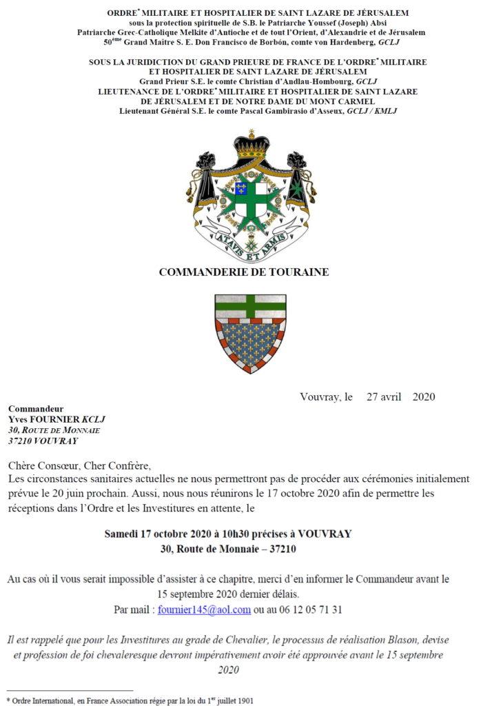 Investitures Ordre Saint Lazare